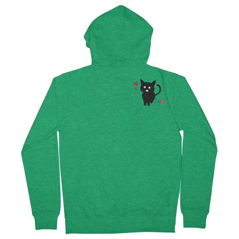 Cat Love With Hearts (Small) Women's French Terry Zip-Up Hoody by Designs by Billy Wan