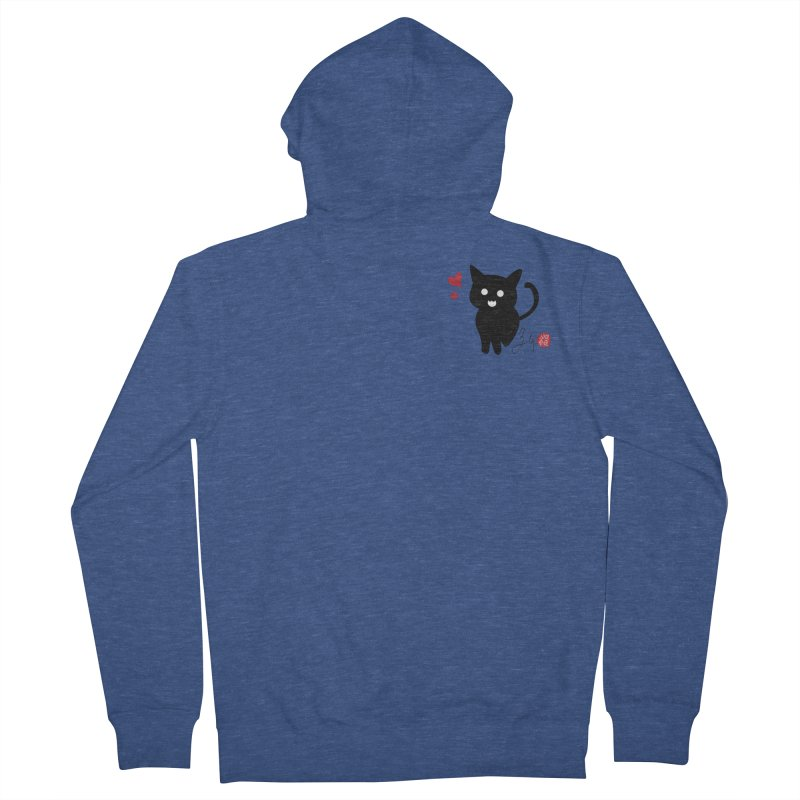 Cat Love With Hearts (Small) Men's French Terry Zip-Up Hoody by Designs by Billy Wan