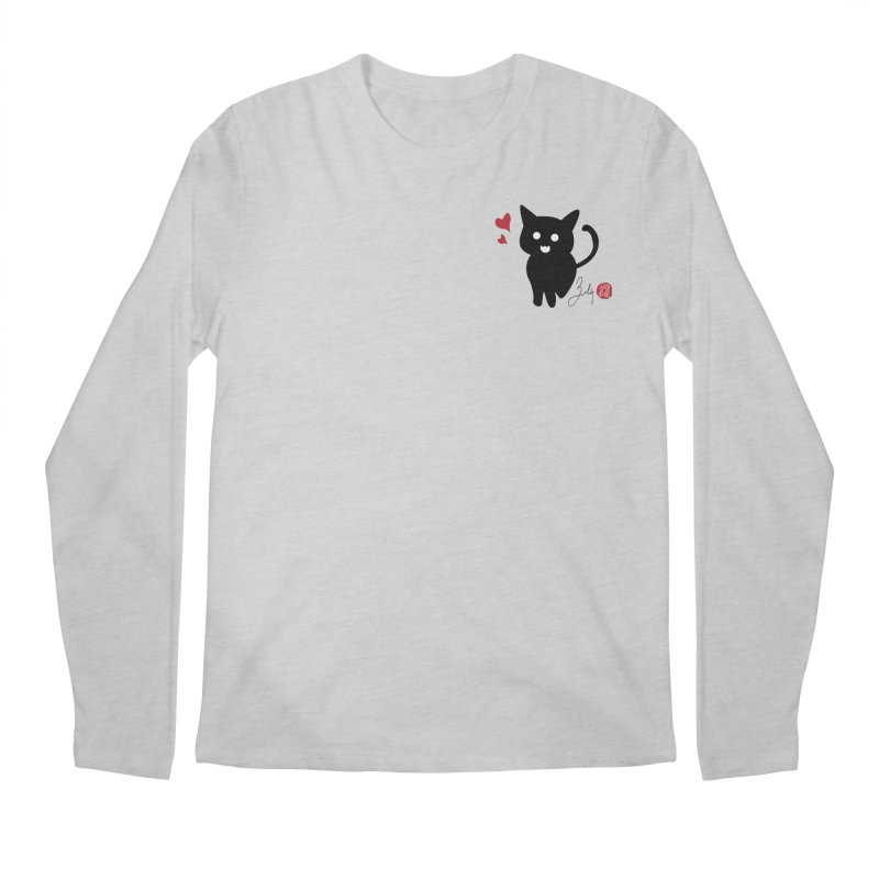 Cat Love With Hearts (Small) Men's Regular Longsleeve T-Shirt by Designs by Billy Wan