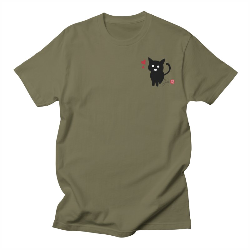 Cat Love With Hearts (Small) Men's Regular T-Shirt by Designs by Billy Wan