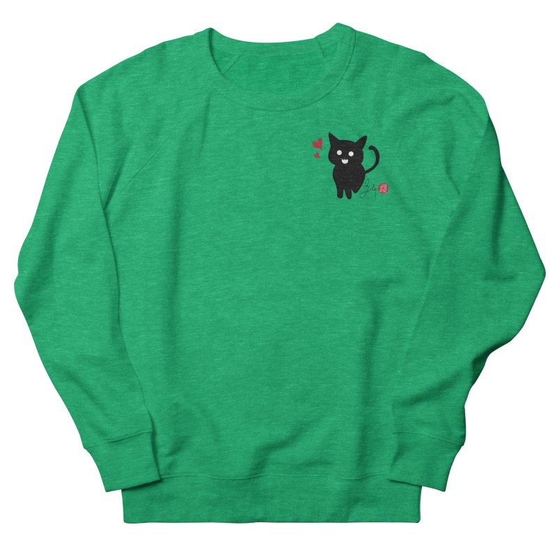 Cat Love With Hearts (Small) Women's French Terry Sweatshirt by Designs by Billy Wan