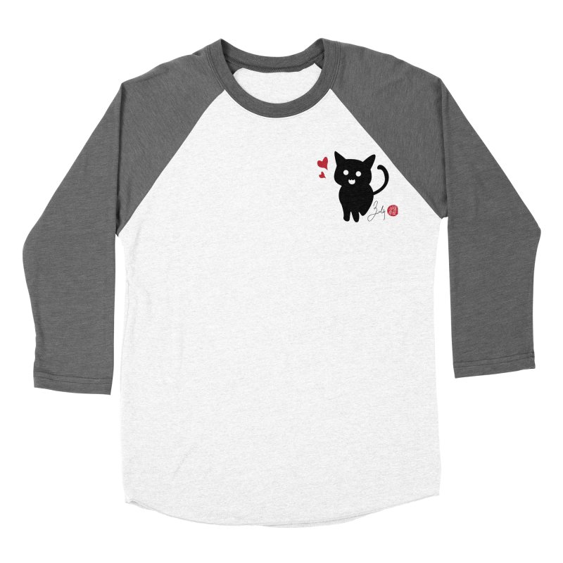 Cat Love With Hearts (Small) Women's Baseball Triblend Longsleeve T-Shirt by Designs by Billy Wan