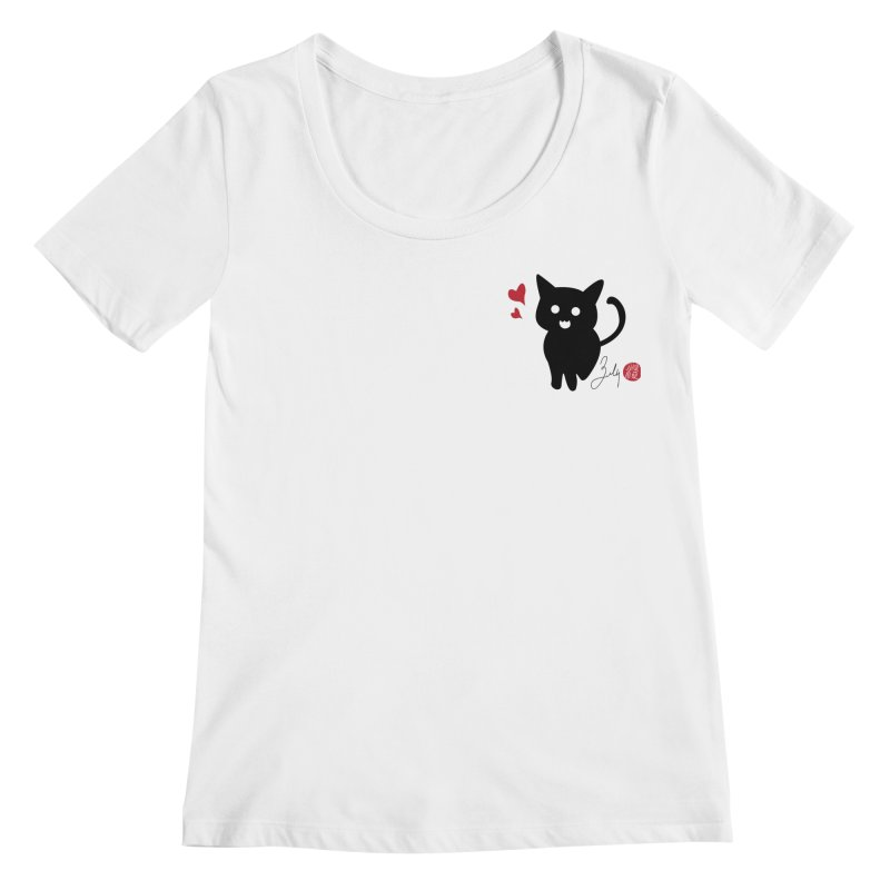 Cat Love With Hearts (Small) Women's Regular Scoop Neck by Designs by Billy Wan