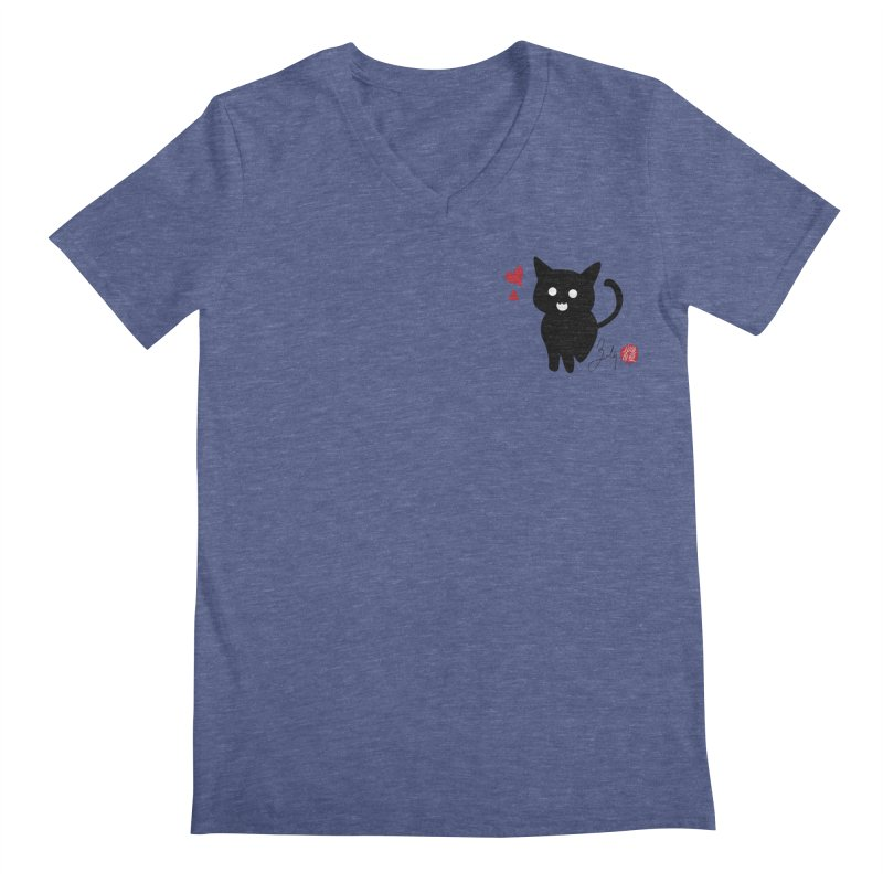 Cat Love With Hearts (Small) Men's Regular V-Neck by Designs by Billy Wan