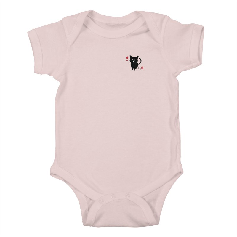 Cat Love With Hearts (Small) Kids Baby Bodysuit by Designs by Billy Wan