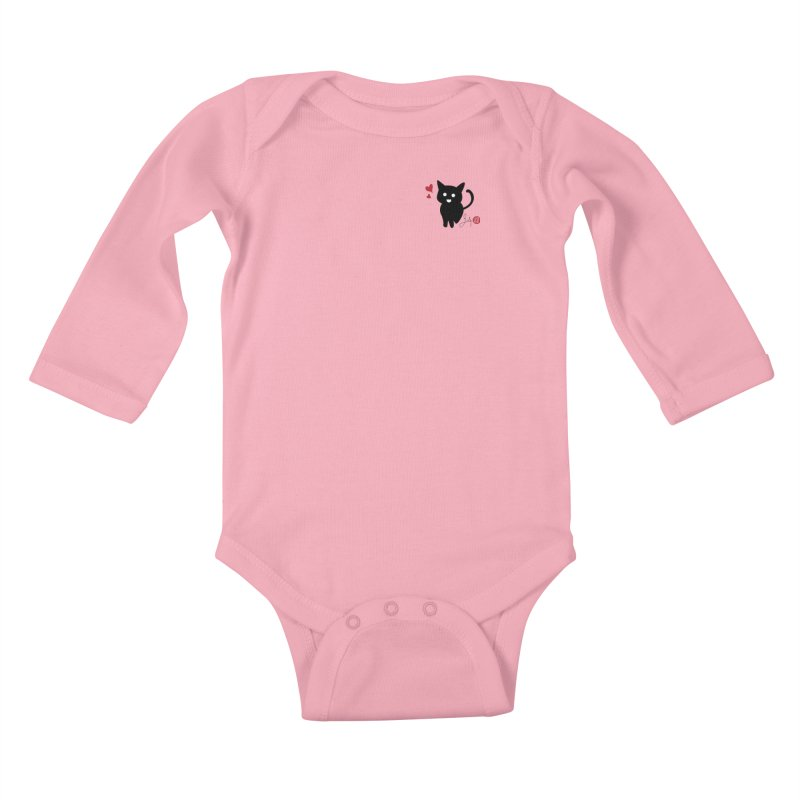 Cat Love With Hearts (Small) Kids Baby Longsleeve Bodysuit by Designs by Billy Wan