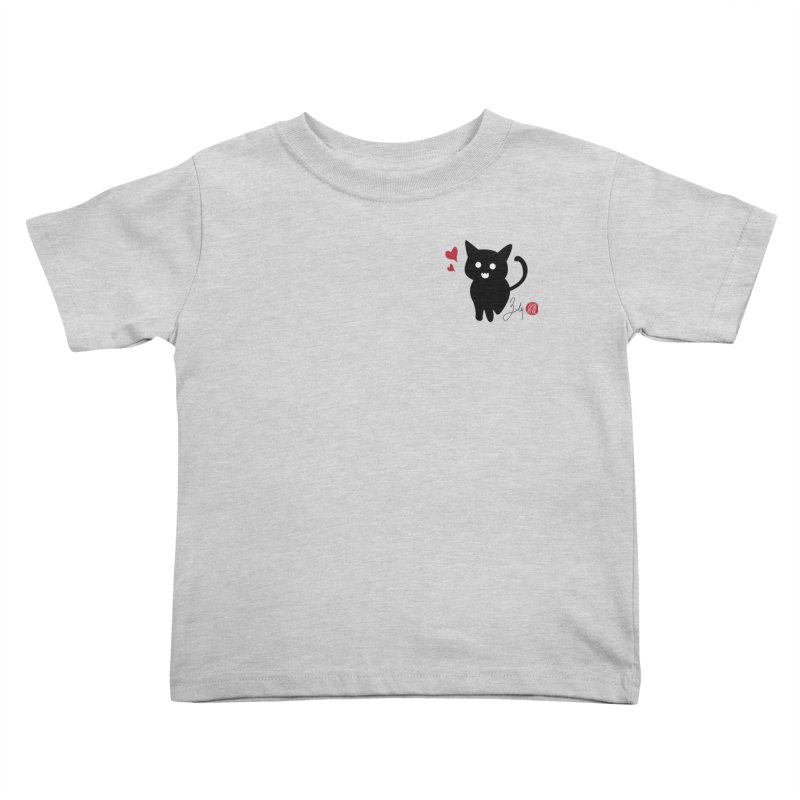 Cat Love With Hearts (Small) Kids Toddler T-Shirt by Designs by Billy Wan