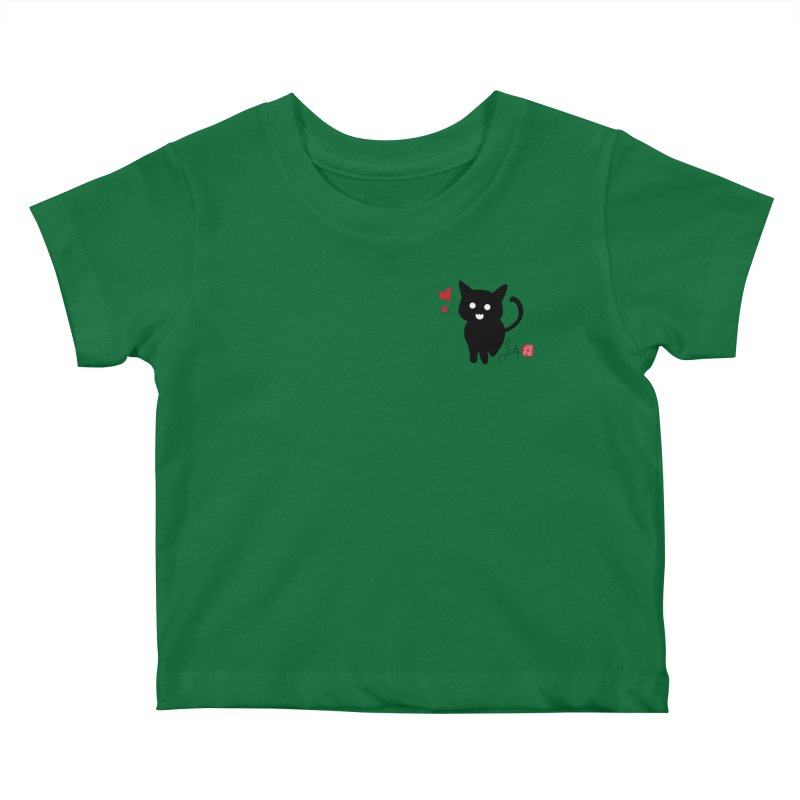 Cat Love With Hearts (Small) Kids Baby T-Shirt by Designs by Billy Wan