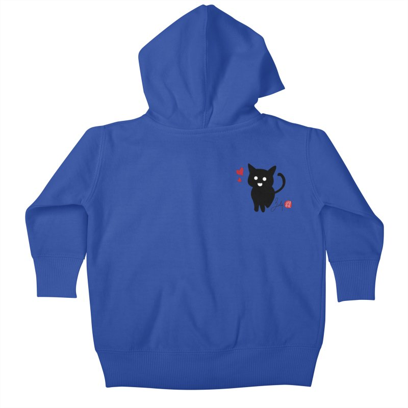 Cat Love With Hearts (Small) Kids Baby Zip-Up Hoody by Designs by Billy Wan