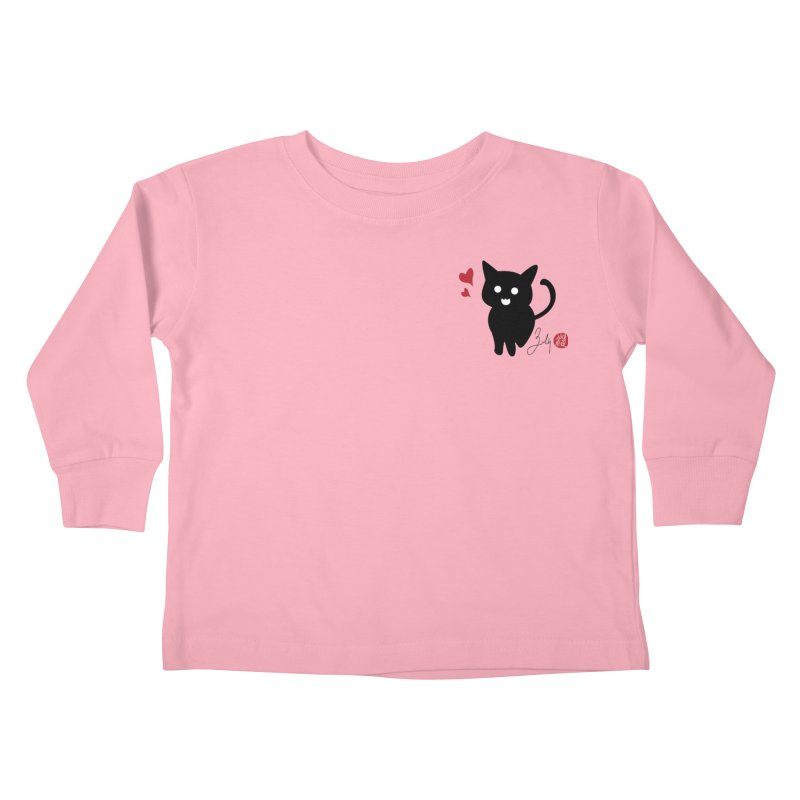 Cat Love With Hearts (Small) Kids Toddler Longsleeve T-Shirt by Designs by Billy Wan