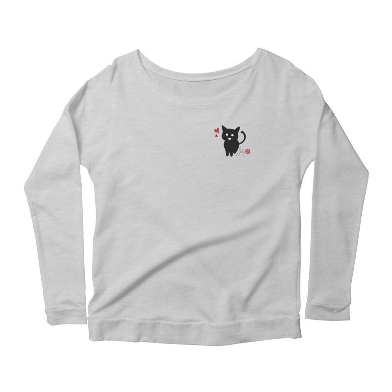 Cat Love With Hearts (Small) Women's Scoop Neck Longsleeve T-Shirt by Designs by Billy Wan