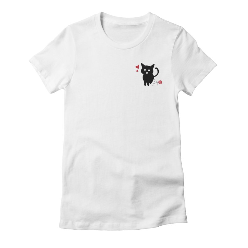 Cat Love With Hearts (Small) Women's Fitted T-Shirt by Designs by Billy Wan