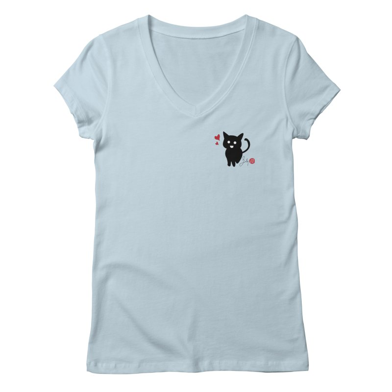 Cat Love With Hearts (Small) Women's V-Neck by Designs by Billy Wan