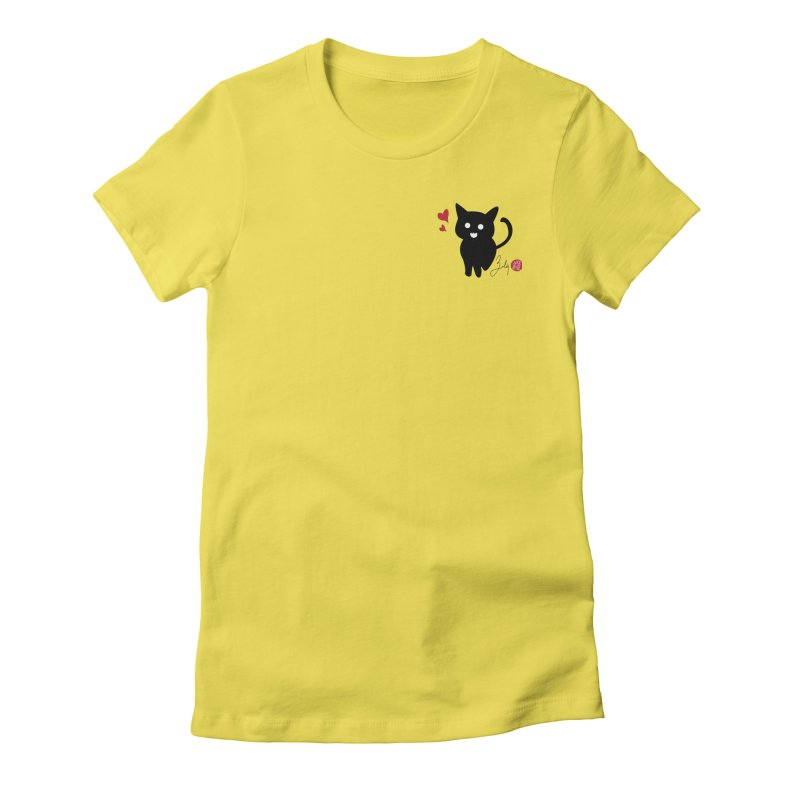 Cat Love With Hearts (Small) Women's T-Shirt by Designs by Billy Wan