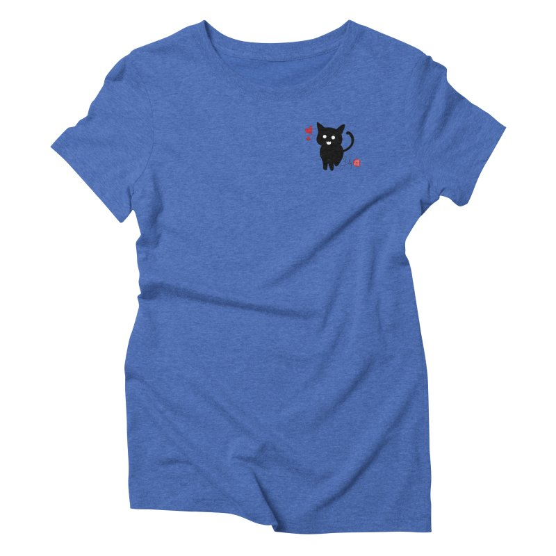 Cat Love With Hearts (Small) Women's Triblend T-Shirt by Designs by Billy Wan