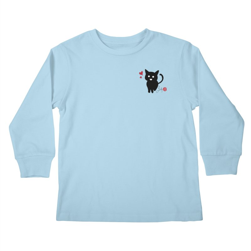 Cat Love With Hearts (Small) Kids Longsleeve T-Shirt by Designs by Billy Wan