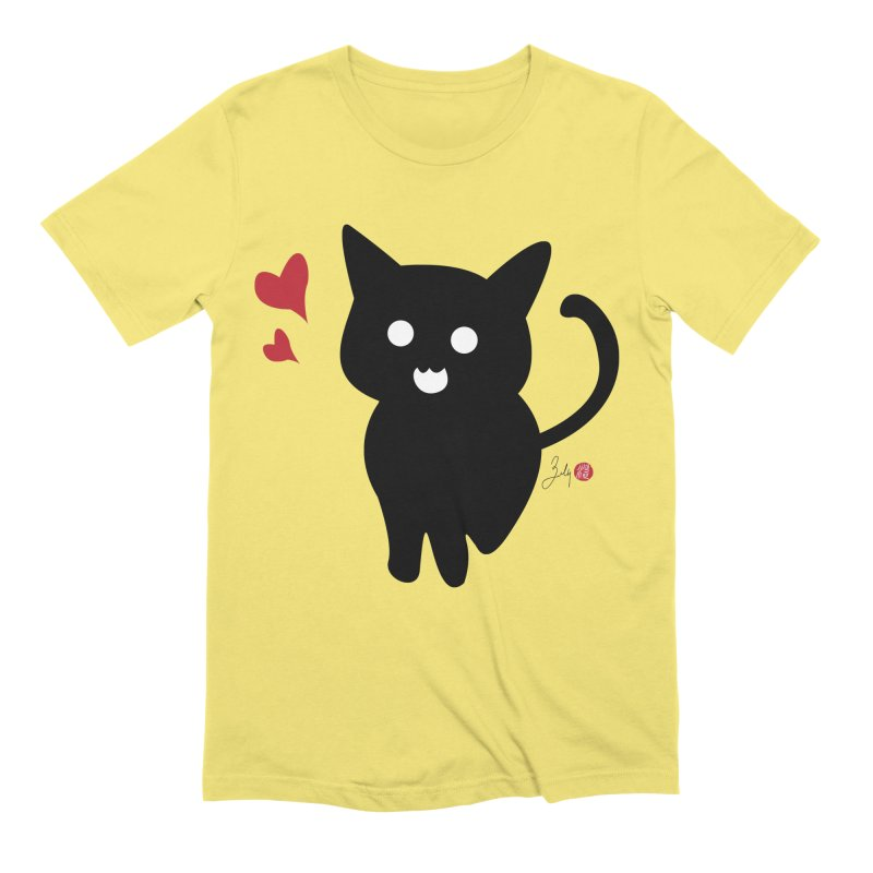 Cat Love With Hearts (Large) Men's T-Shirt by Designs by Billy Wan