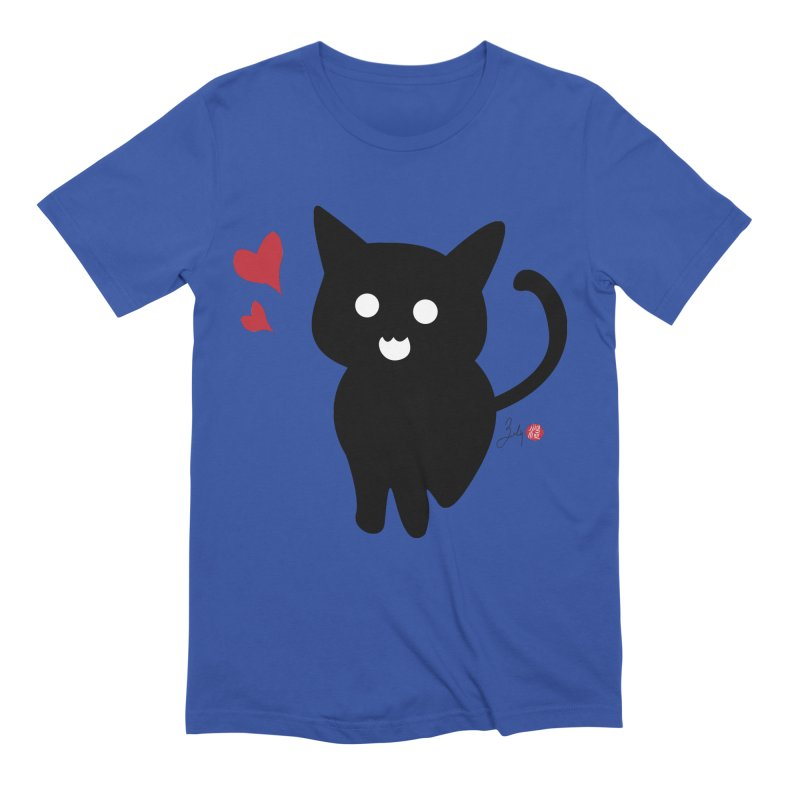 Cat Love With Hearts (Large) Men's Extra Soft T-Shirt by Designs by Billy Wan