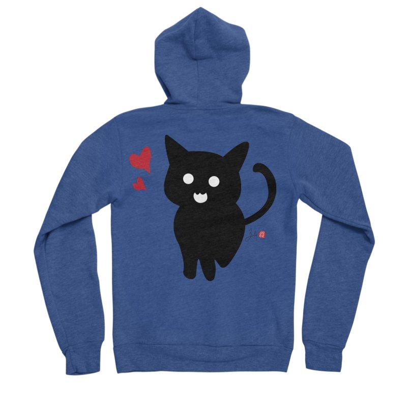 Cat Love With Hearts (Large) Women's Sponge Fleece Zip-Up Hoody by Designs by Billy Wan