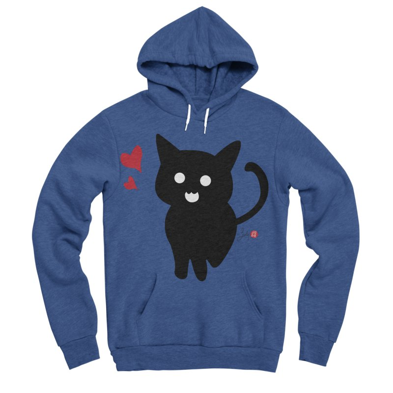 Cat Love With Hearts (Large) Men's Sponge Fleece Pullover Hoody by Designs by Billy Wan