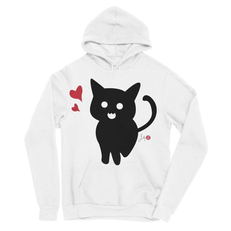 Cat Love With Hearts (Large) Men's Sponge Fleece Pullover Hoody by Designs by Billy Wan