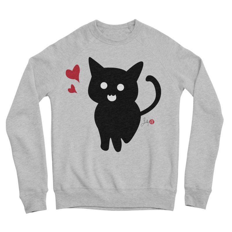 Cat Love With Hearts (Large) Women's Sponge Fleece Sweatshirt by Designs by Billy Wan
