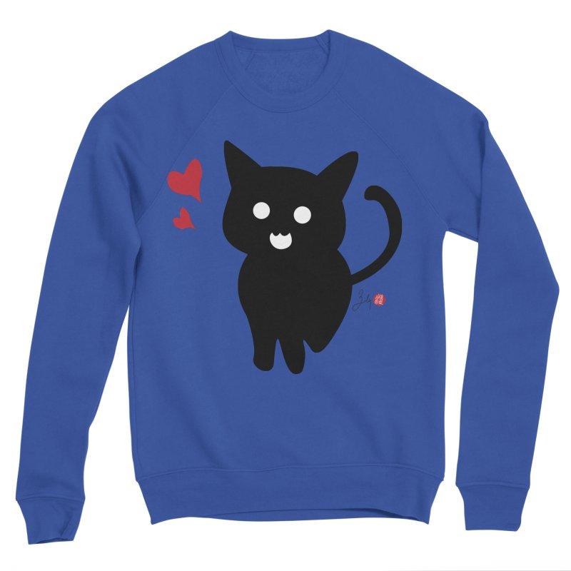 Cat Love With Hearts (Large) Men's Sponge Fleece Sweatshirt by Designs by Billy Wan
