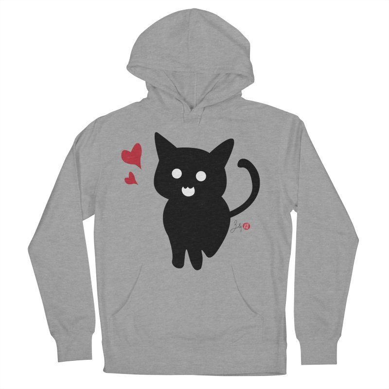 Cat Love With Hearts (Large) Women's Pullover Hoody by Designs by Billy Wan