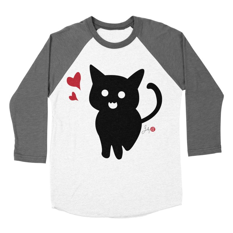 Cat Love With Hearts (Large) Women's Longsleeve T-Shirt by Designs by Billy Wan