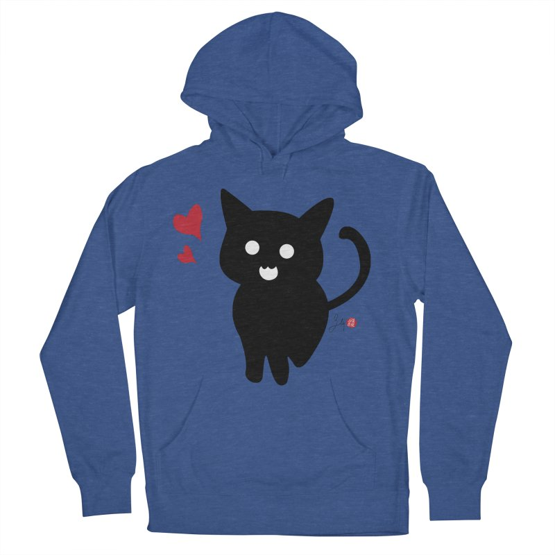 Cat Love With Hearts (Large) Women's French Terry Pullover Hoody by Designs by Billy Wan
