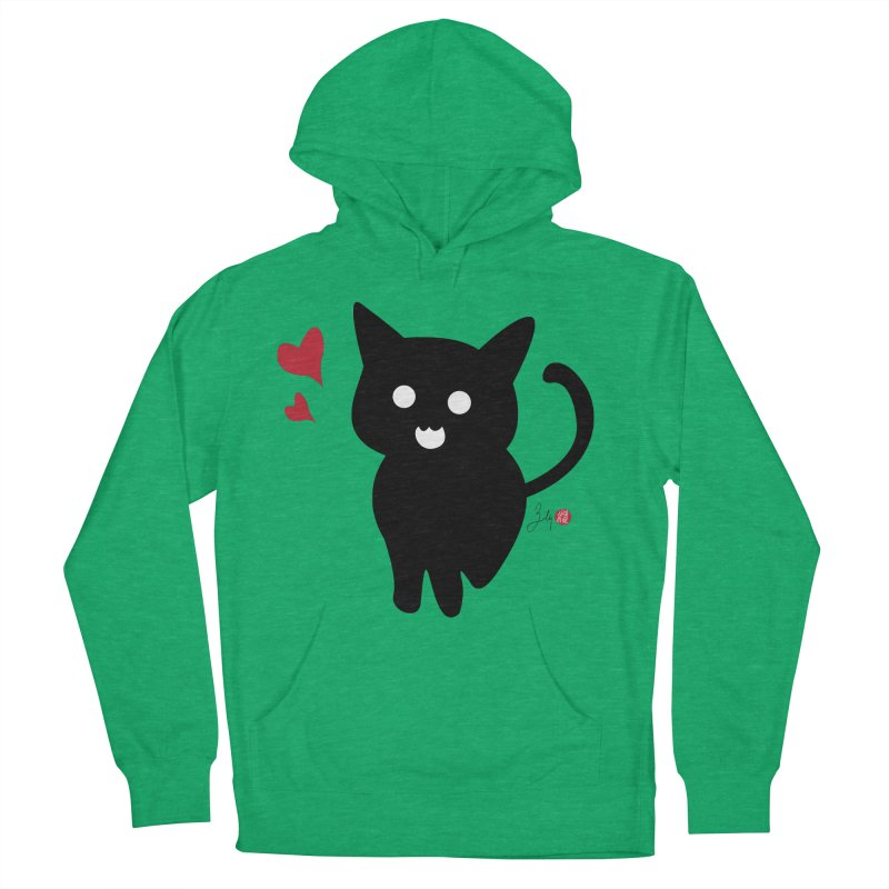 Cat Love With Hearts (Large) Men's French Terry Pullover Hoody by Designs by Billy Wan