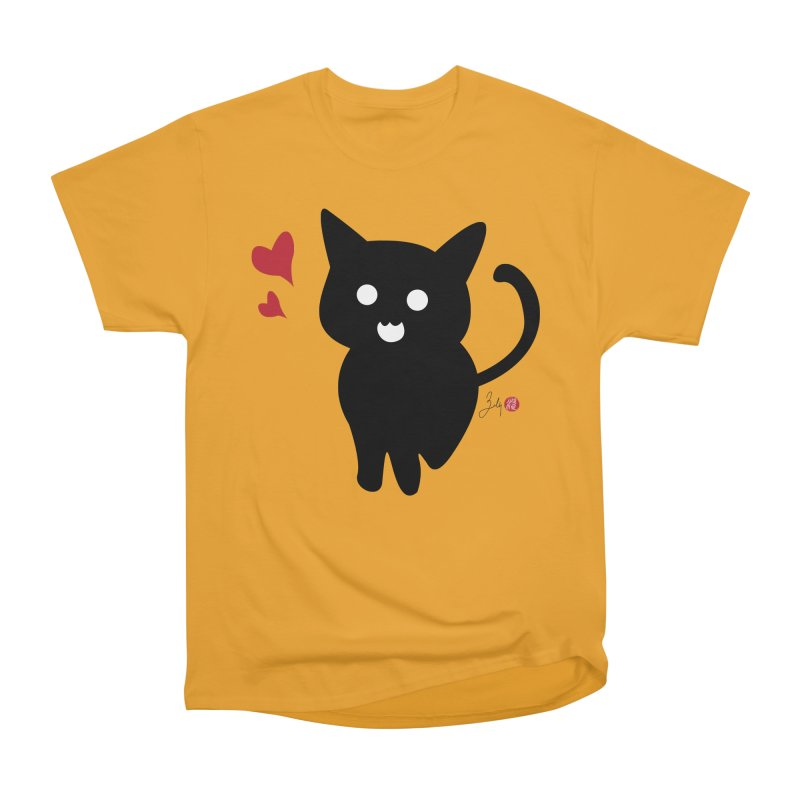Cat Love With Hearts (Large) Women's Heavyweight Unisex T-Shirt by Designs by Billy Wan