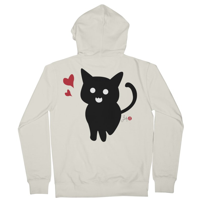 Cat Love With Hearts (Large) Women's French Terry Zip-Up Hoody by Designs by Billy Wan