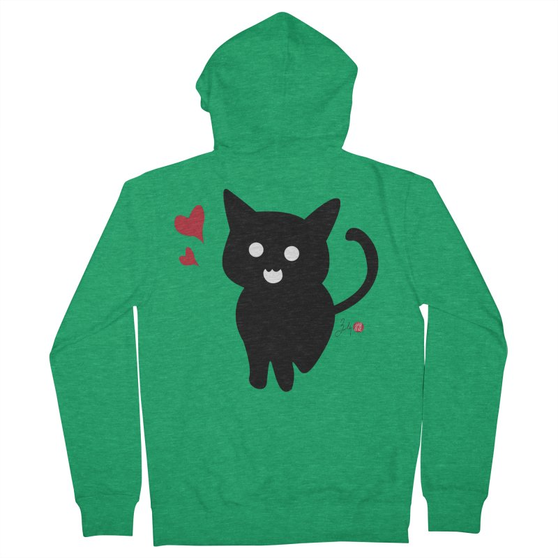 Cat Love With Hearts (Large) Men's French Terry Zip-Up Hoody by Designs by Billy Wan