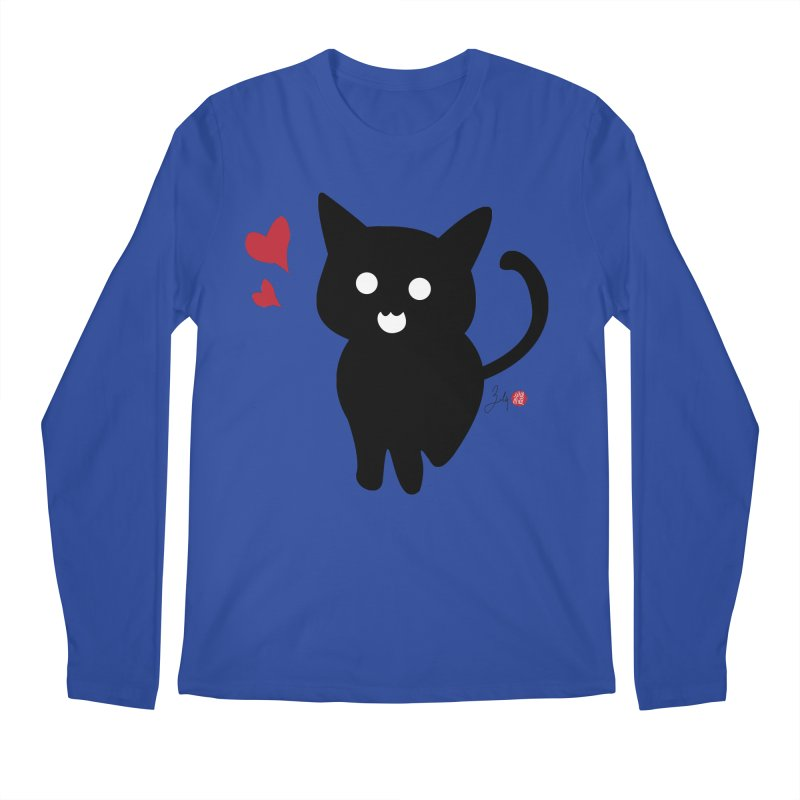 Cat Love With Hearts (Large) Men's Regular Longsleeve T-Shirt by Designs by Billy Wan