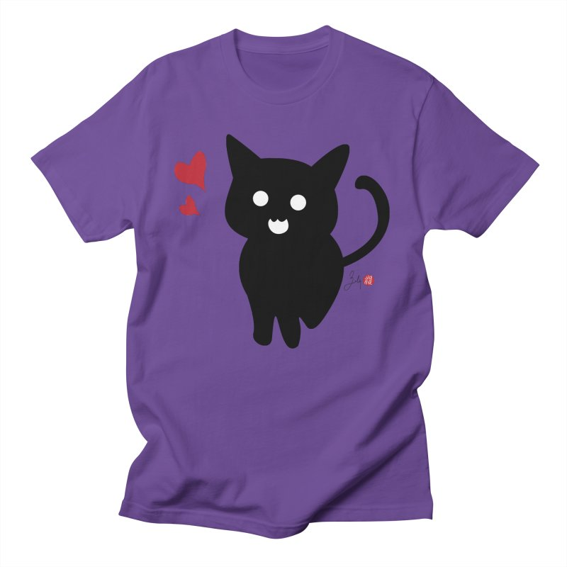 Cat Love With Hearts (Large) Men's Regular T-Shirt by Designs by Billy Wan