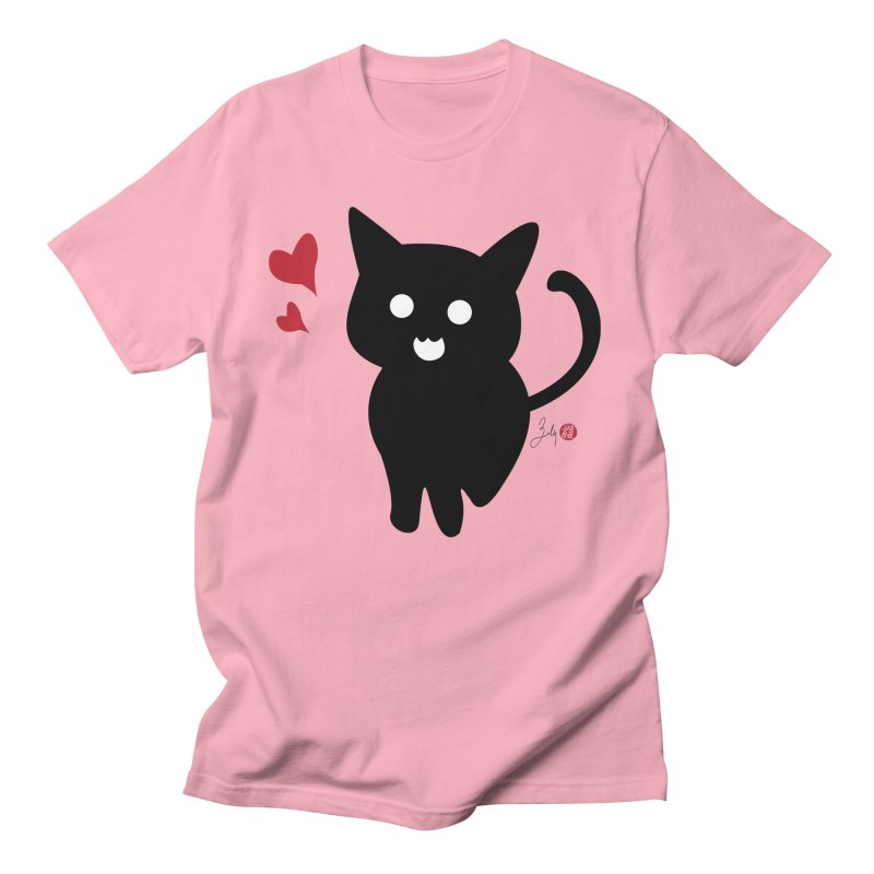 Cat Love With Hearts (Large) Women's Regular Unisex T-Shirt by Designs by Billy Wan