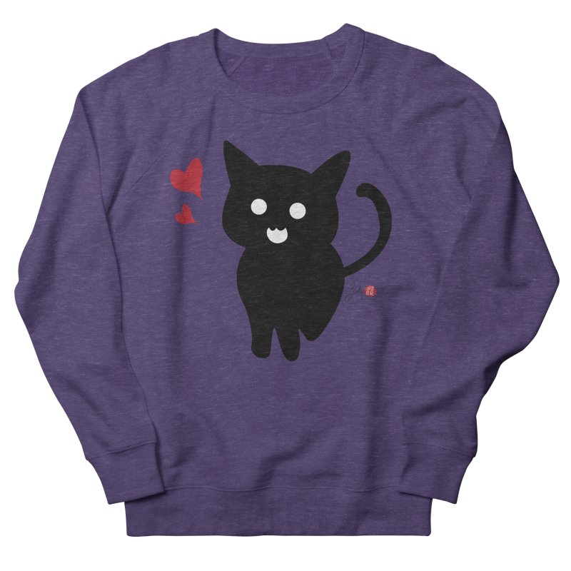 Cat Love With Hearts (Large) Women's French Terry Sweatshirt by Designs by Billy Wan