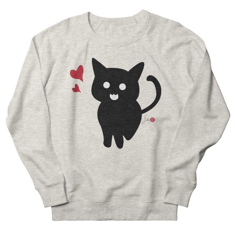Cat Love With Hearts (Large) Men's French Terry Sweatshirt by Designs by Billy Wan
