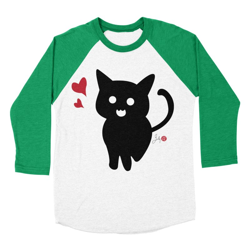 Cat Love With Hearts (Large) Men's Baseball Triblend Longsleeve T-Shirt by Designs by Billy Wan