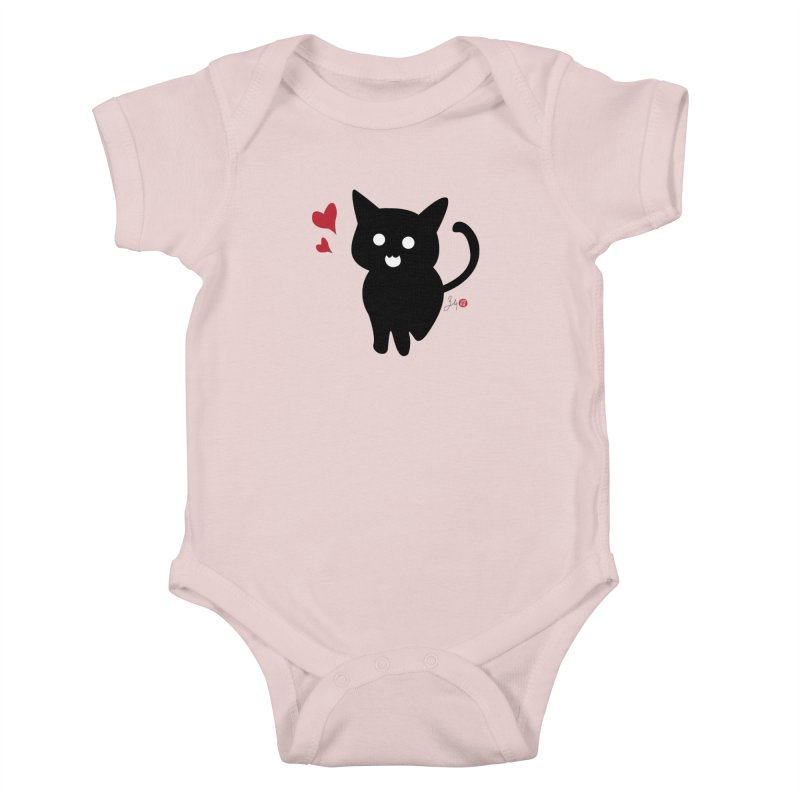 Cat Love With Hearts (Large) Kids Baby Bodysuit by Designs by Billy Wan