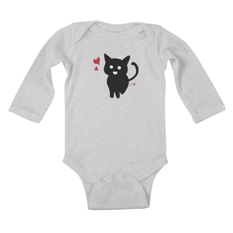 Cat Love With Hearts (Large) Kids Baby Longsleeve Bodysuit by Designs by Billy Wan