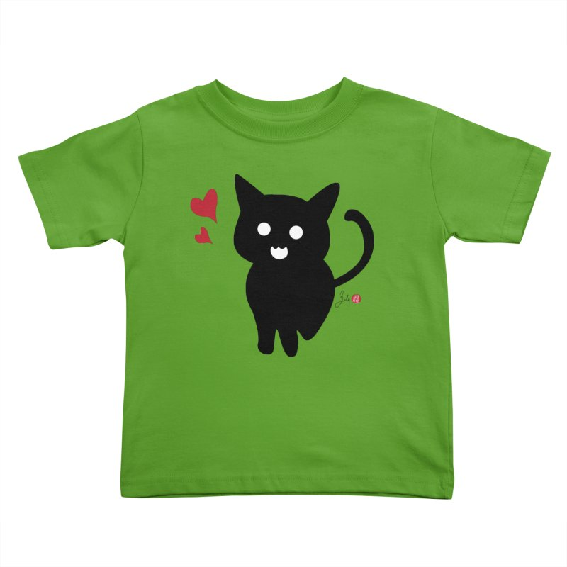 Cat Love With Hearts (Large) Kids Toddler T-Shirt by Designs by Billy Wan