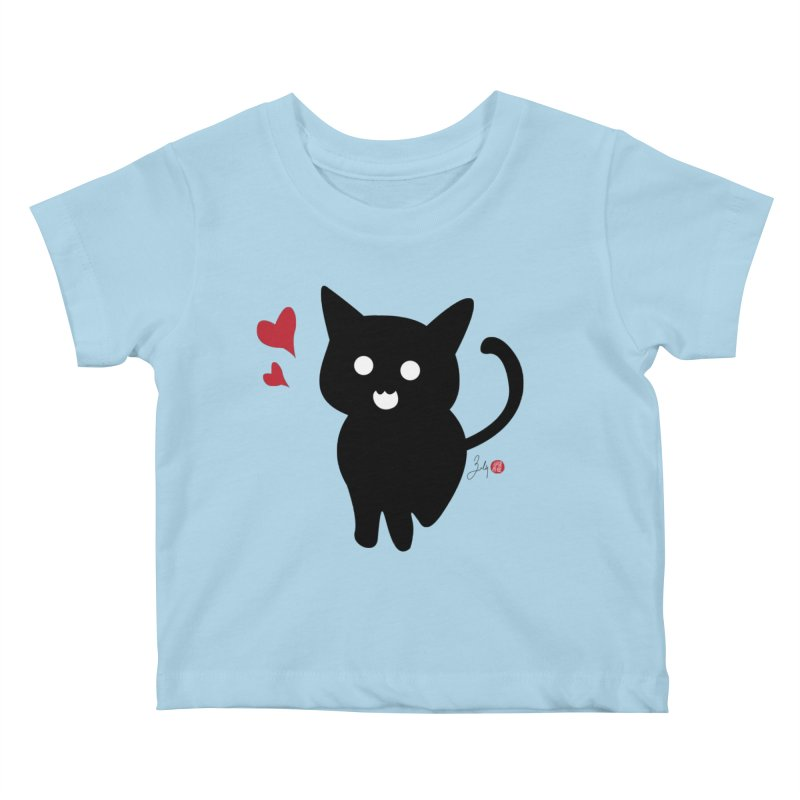 Cat Love With Hearts (Large) Kids Baby T-Shirt by Designs by Billy Wan