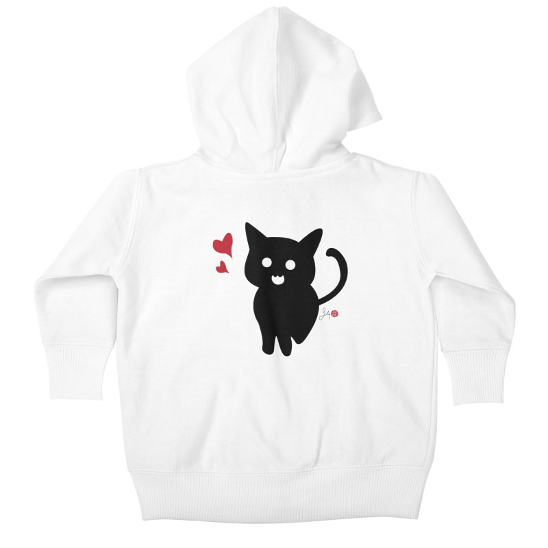 Cat Love With Hearts (Large) Kids Baby Zip-Up Hoody by Designs by Billy Wan