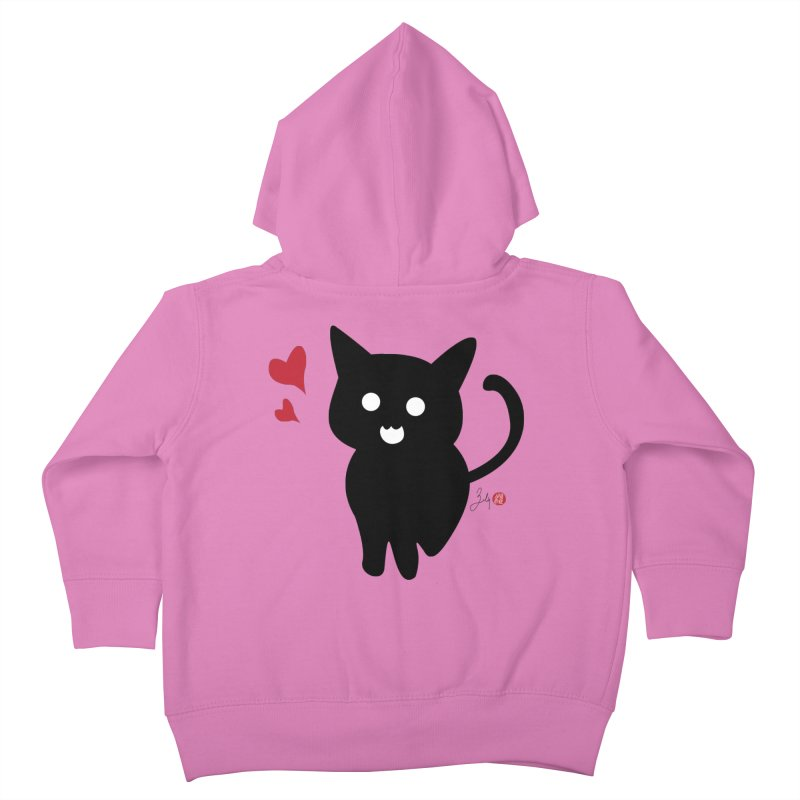 Cat Love With Hearts (Large) Kids Toddler Zip-Up Hoody by Designs by Billy Wan
