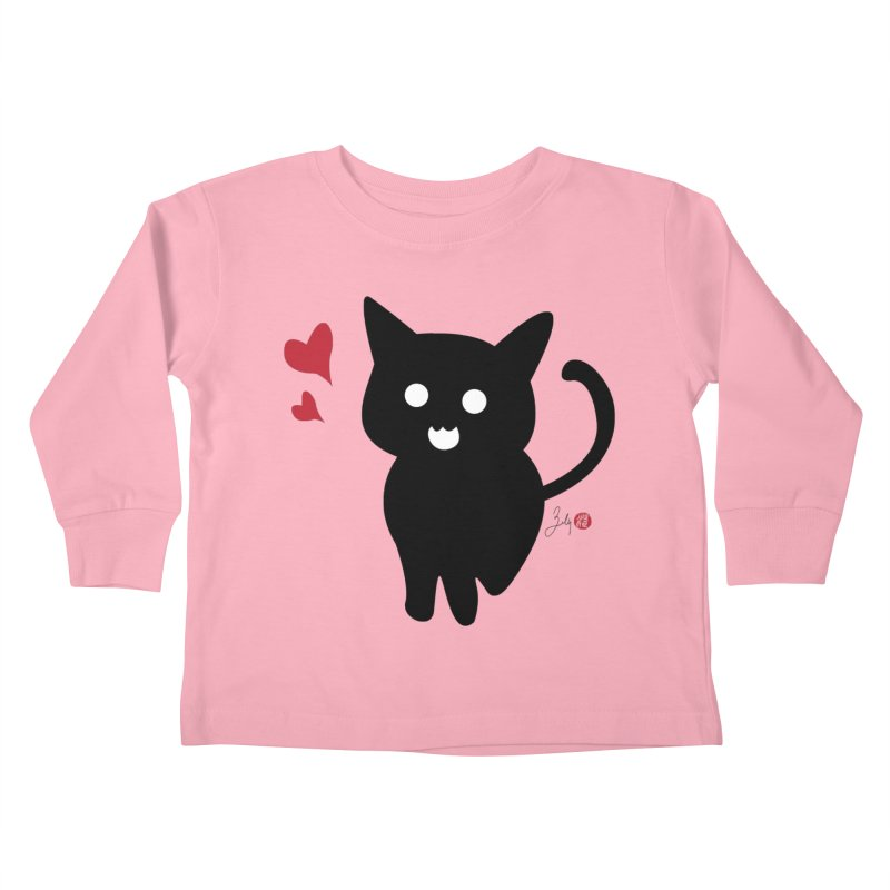 Cat Love With Hearts (Large) Kids Toddler Longsleeve T-Shirt by Designs by Billy Wan