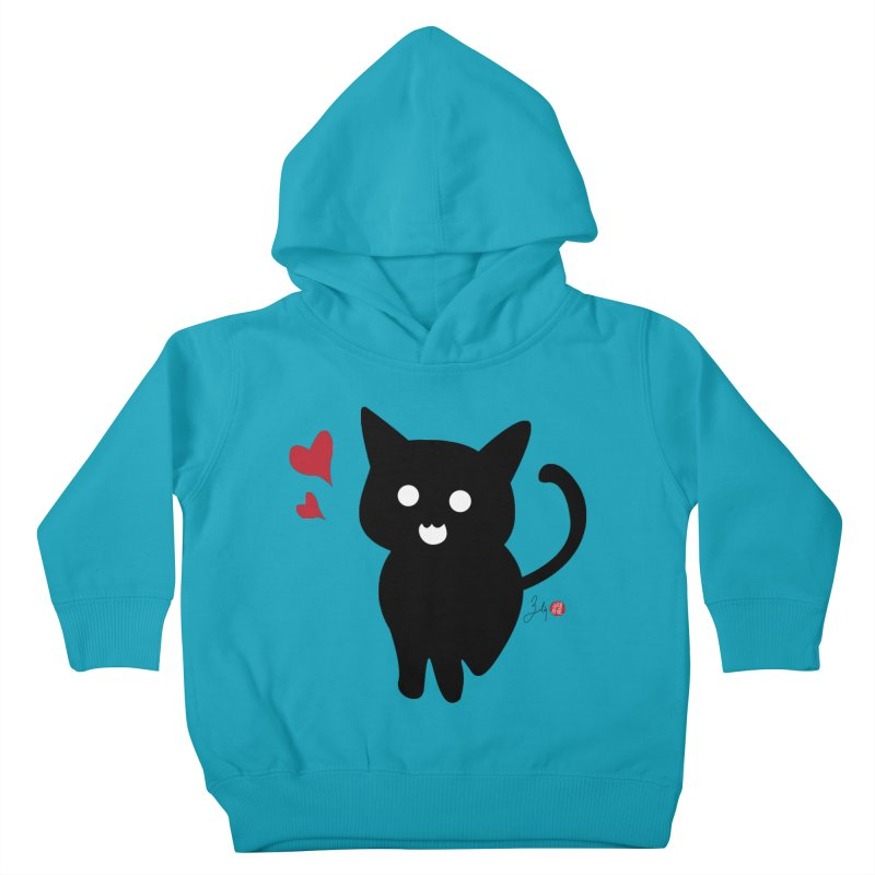 Cat Love With Hearts (Large) Kids Toddler Pullover Hoody by Designs by Billy Wan