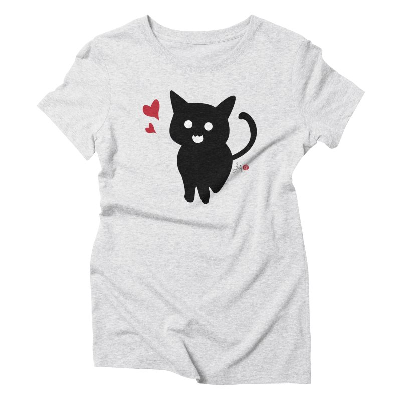 Cat Love With Hearts (Large) Women's T-Shirt by Designs by Billy Wan