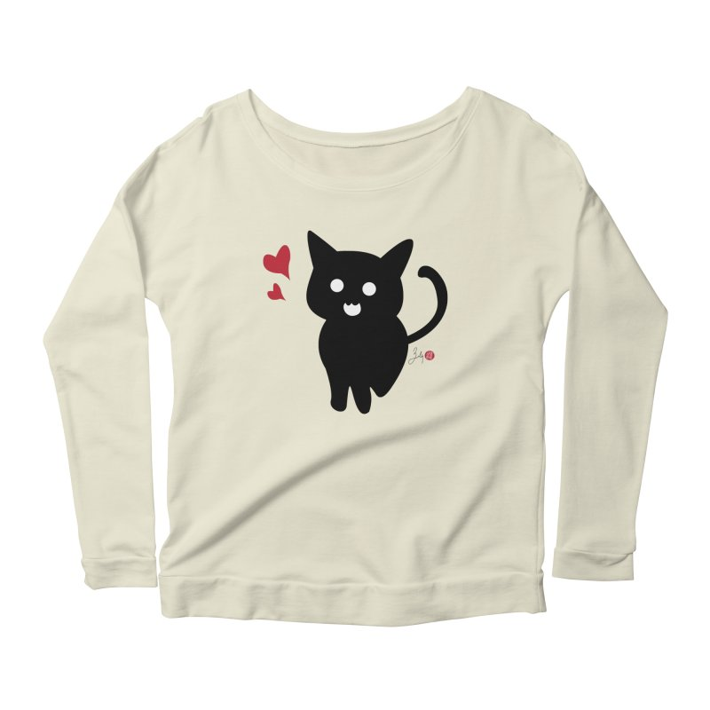 Cat Love With Hearts (Large) Women's Scoop Neck Longsleeve T-Shirt by Designs by Billy Wan